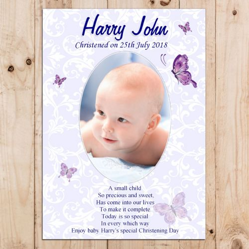 Personalised Boys Christening Butterfly Baptism Celebration PHOTO Poster Banner N14